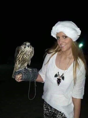 With a falcon