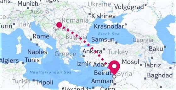 Map - Belgrade to Beirut